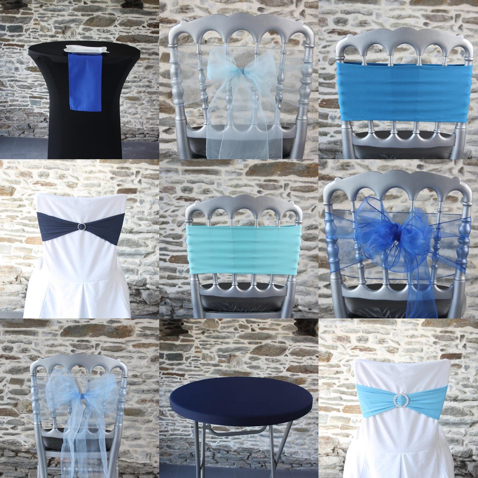 le bleu se décline partout pour l'hiver 2019 : noeud de chaise, housse de mange debout, housse de chaise