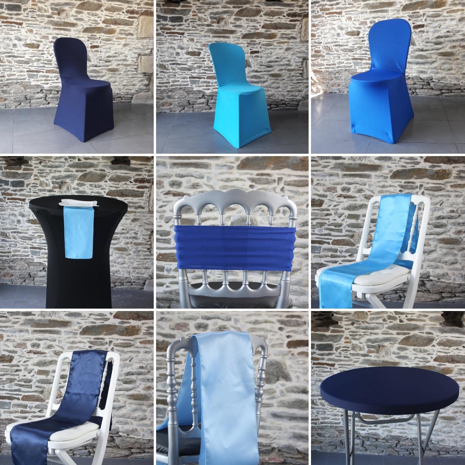 tendance au bleu pour l'hiver 2019 : housse de chaise bleue, noeud de chaise bleus, housse de mange debout bleu, serviette bleue