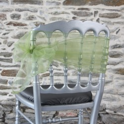 Nœud de chaise organza vert anis, Anne-C