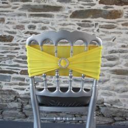 Bandeau lycra jaune avec strass intégré - Anne-C