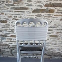 Bandeau, nœud de chaise en lycra gris argent Anne-C