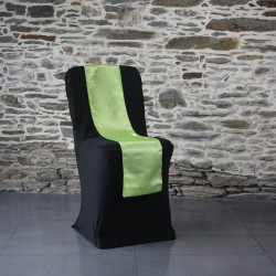 Ceinturage satin vert anis sur housse lycra noire, Anne-C