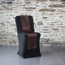 Ceinturage satin marron sur housse lycra noire, Anne-C