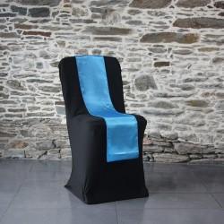 Ceinturage en satin bleu sur housse lycra noire, Anne-C