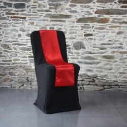 Ceinturage satin rouge sur housse lycra noire, Anne-C