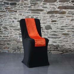 Ceinturage satin orange sur housse lycra noire, Anne-C