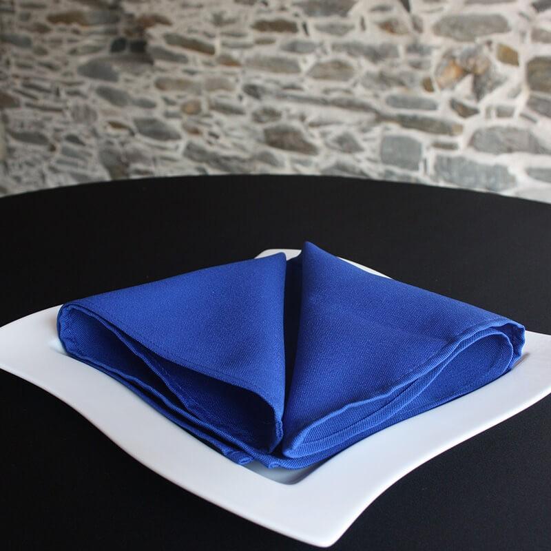 Serviette de table bleu marine 100% polyester, Anne-c