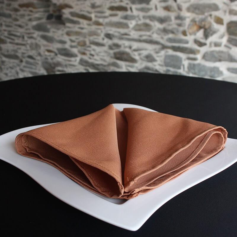 Serviette de table caramel, 100% polyester Anne-C