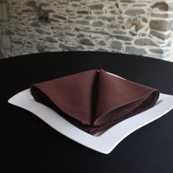 Serviette de table chocolat, 100% polyester, Anne-C