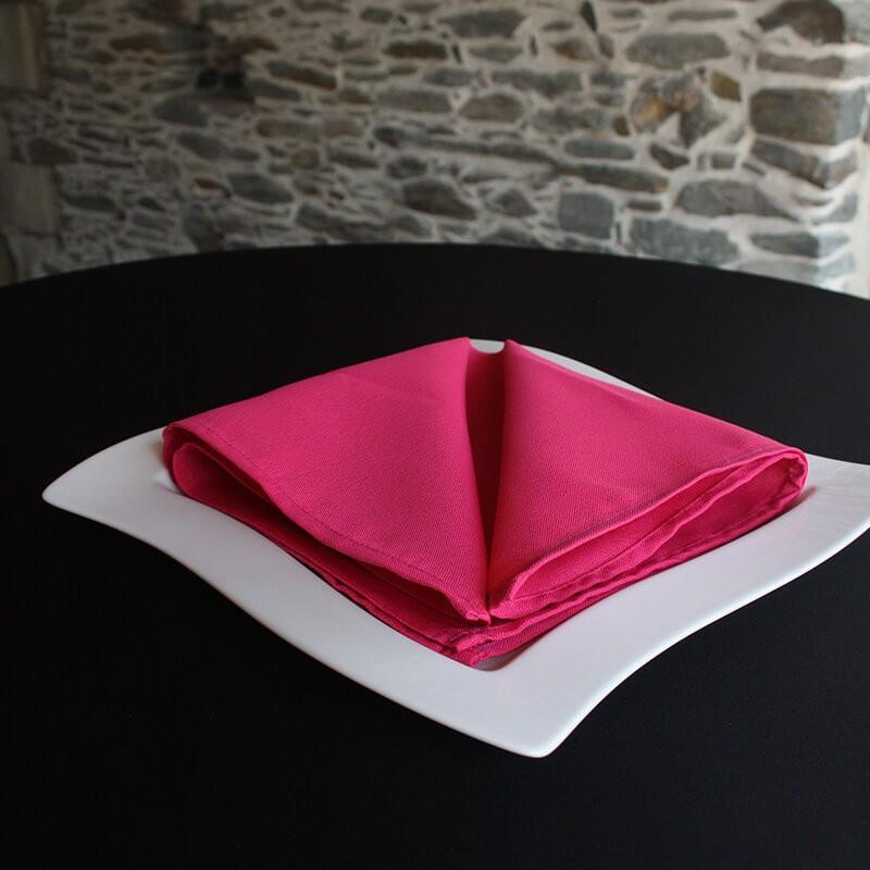 Serviette de table fuchsia 100% polyester, Anne-C