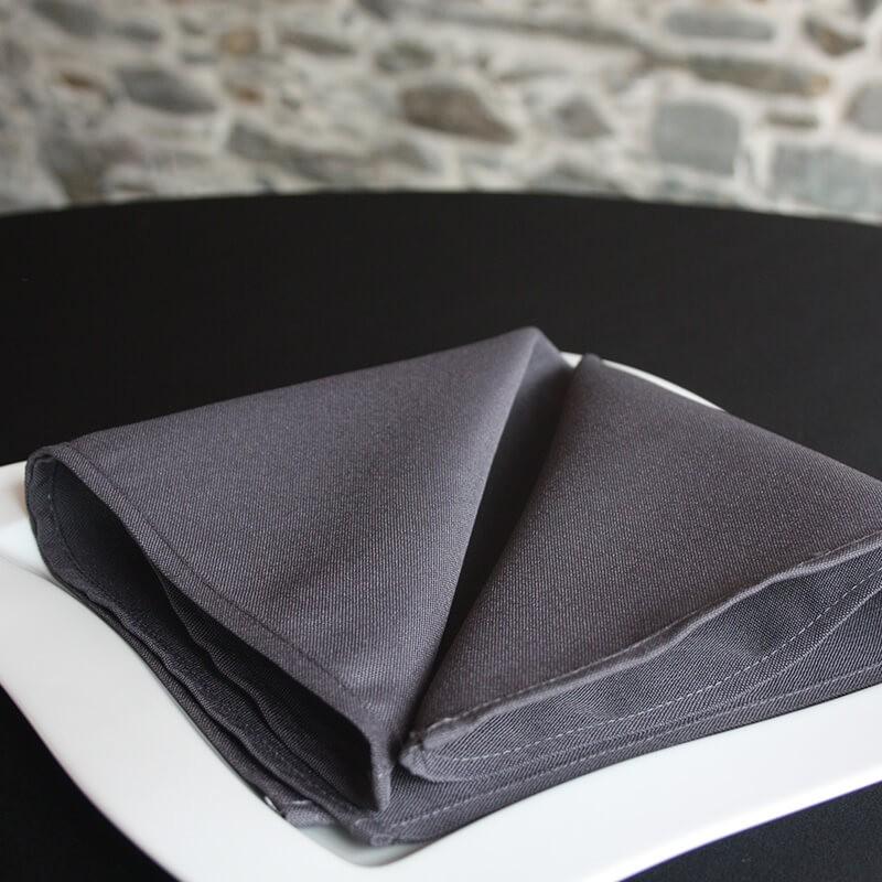 Serviette de table gris fer, 100% polyester, Anne-C