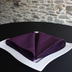 Serviette de table 100% polyester prune, Anne-C