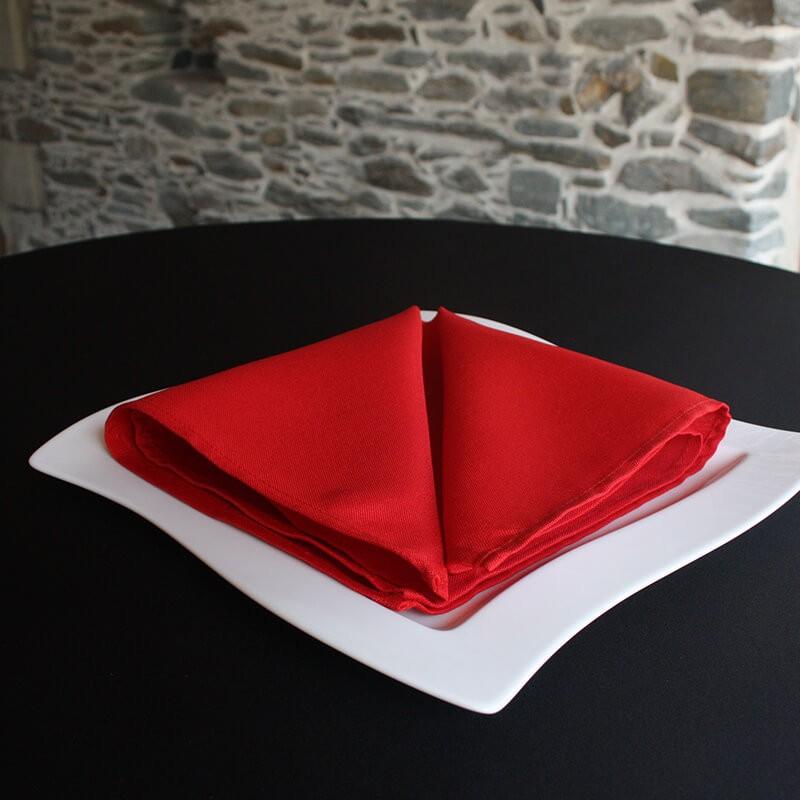 Serviette de table polyester rouge, Anne-C