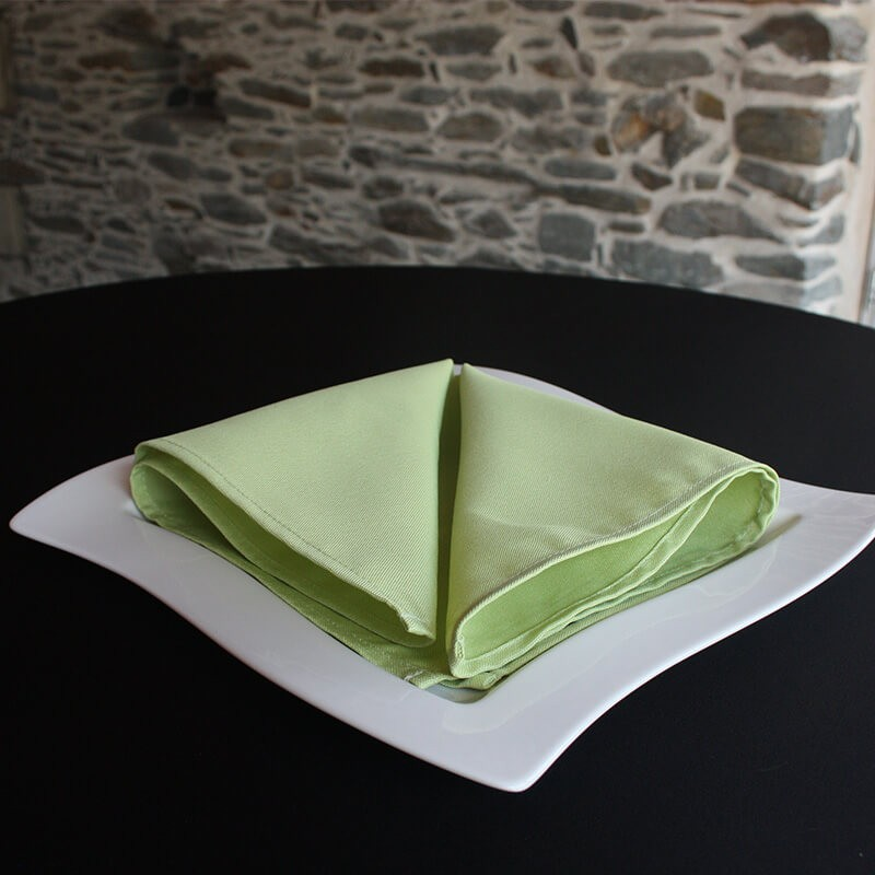 Serviette de table 100% polyester vert anis, Anne-C