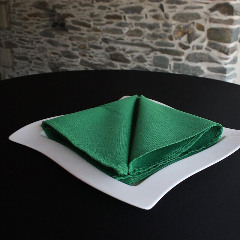 Serviette de table 100% polyester verte, Anne-C