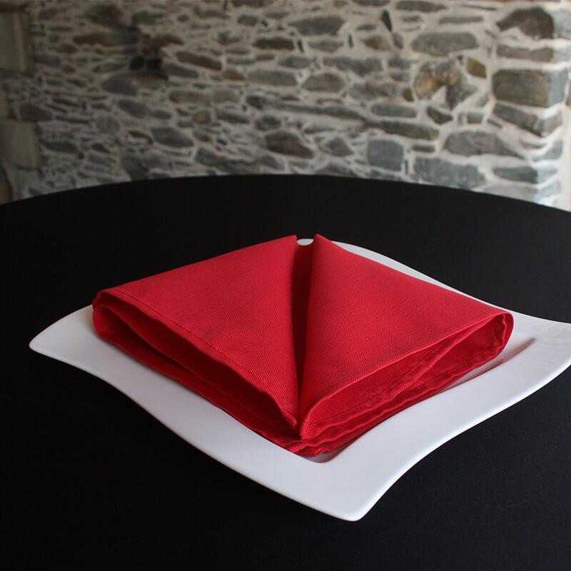 Serviette de table 100% polyester bordeaux, Anne-C