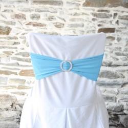 Bandeau lycra bleu avec strass, Anne-C