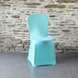 Housse de chaise lycra bleu turquoise Anne-C