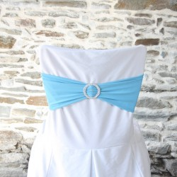 broche strass sur bandeau lycra et housse de chaise en polyester