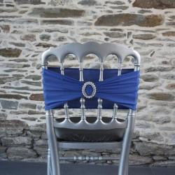 broche strass sur bandeau lycra bleu