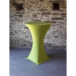 housse mange debout en lycra coloris vert anis, référence 30  diamètre 60 à 90 cm, hauteur 110 cm, 4 pieds