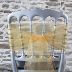 Ceinturage, nœud de chaise jaune en organza, Anne-C