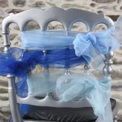 Ceinturage, nœuds de chaise organza, coloris bleus, Anne-C