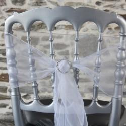 Nœud de chaise blanc avec strass, Anne-C