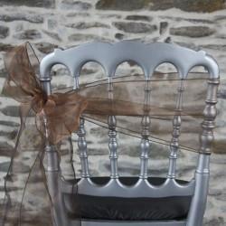 Nœud de chaise en organza chocolat, Anne-c